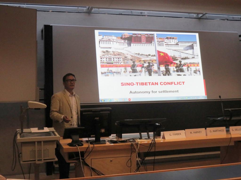 Mr. Norgay arguing for genuine autonomy for Sino-Tibetan conflict settlement