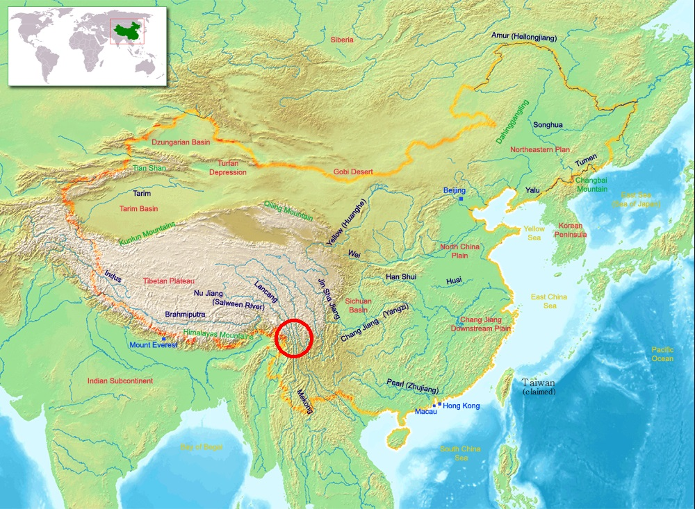Location of The Three Parallel Rivers as indicated on a Chinese map