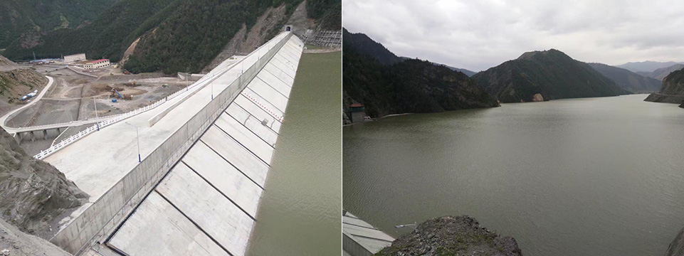 Tsenmo Hydropower Dam in Rebkong county of Qinghai Province. Locals are worried that heavy rain or earth quake could breaches the dam and wash away thousands of homes located down the valley