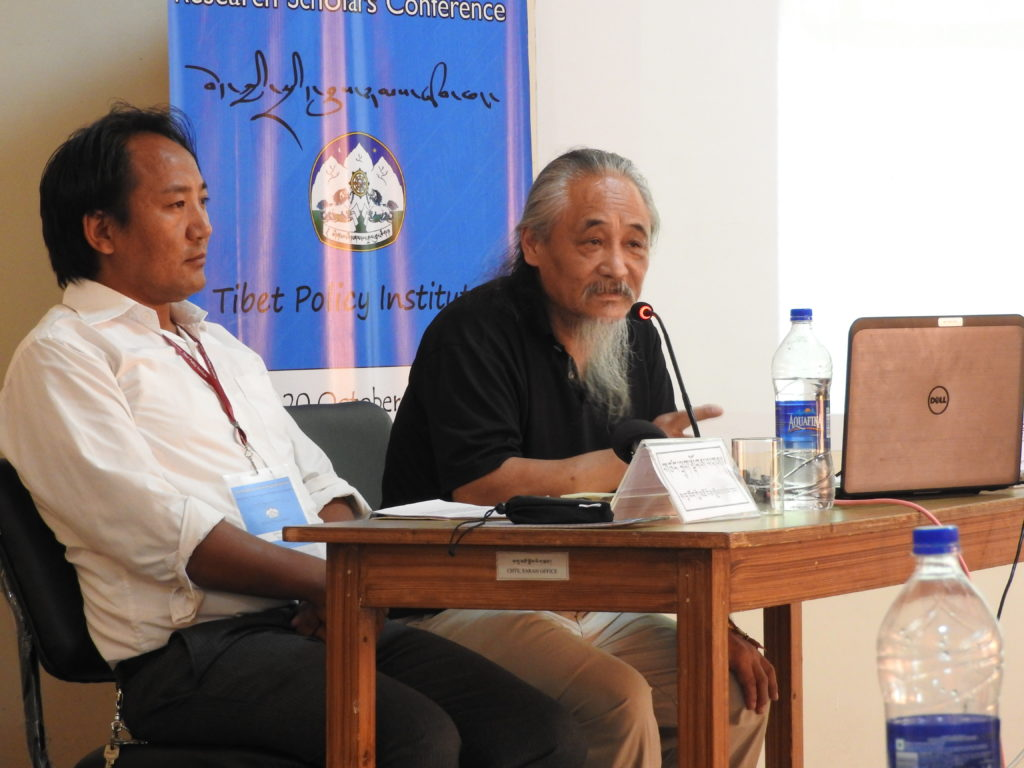 Speakers at the first session, Scholar Tashi Tsering and historian Toplag presenting their papers on the first day of the 2nd Young Tibetan Research Scholars Conference held from October 18-20, 2016 near Dharamshala
