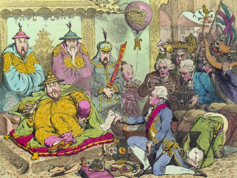 A satirised impression by an artist when the Macartney Embassy was received at the Qing court